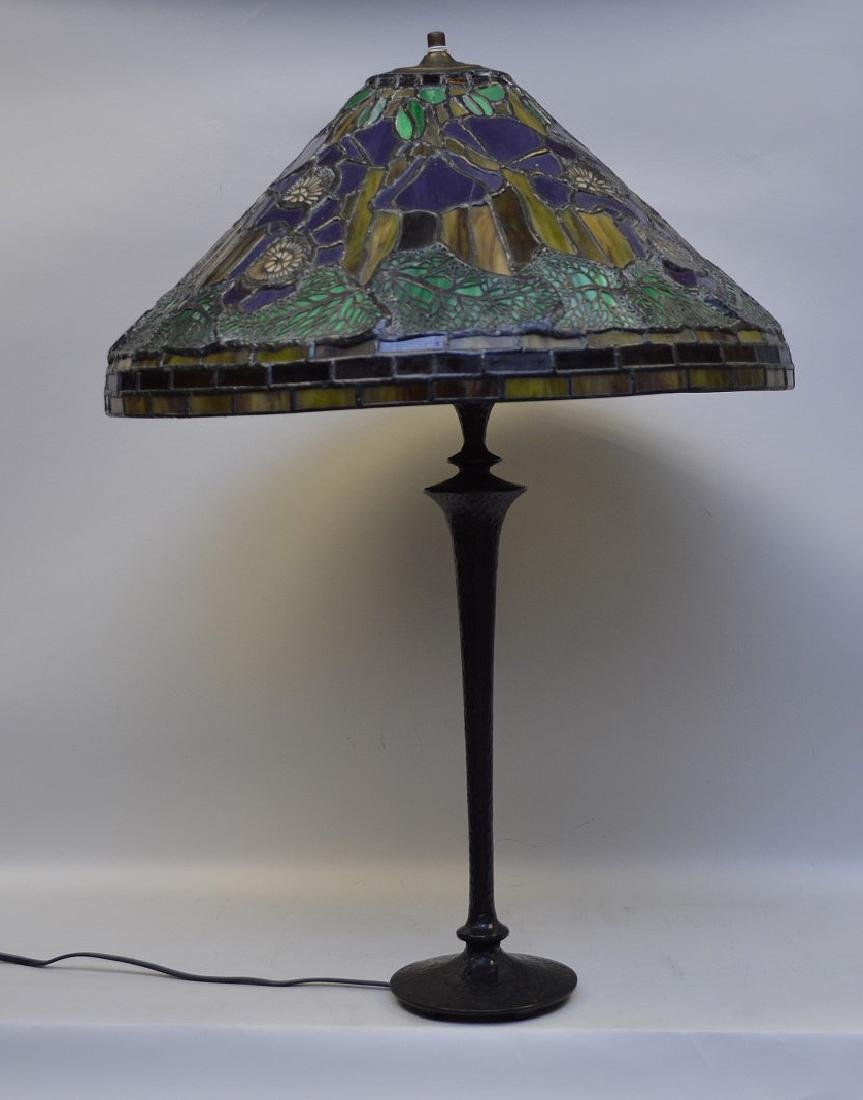 "Art glass table lamp, 28""h"