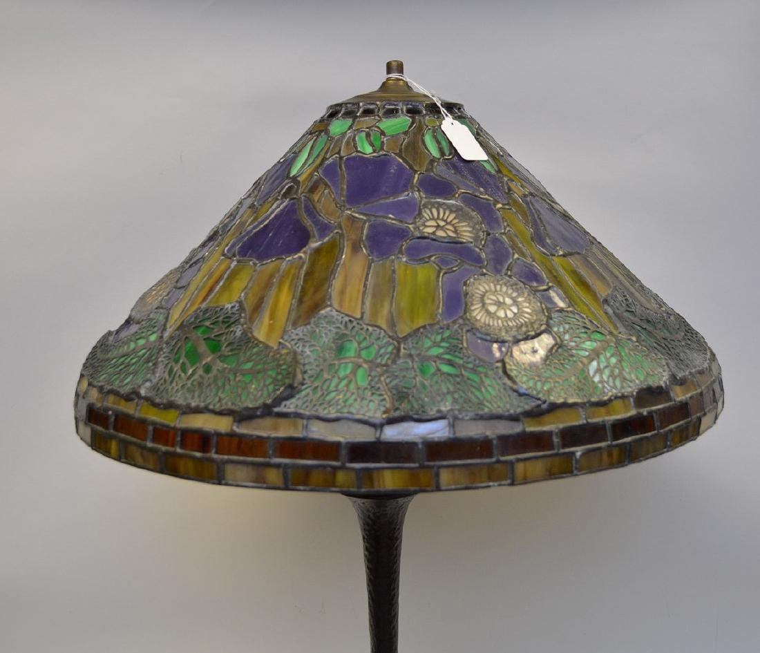 "Art glass table lamp, 28""h - 4"