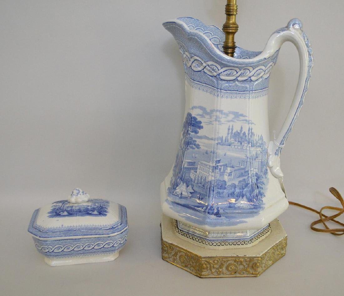 """19th c. Blue white transfer pitcher/lamp(12""""h and 28""""h"""