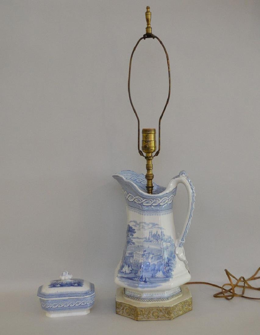 """19th c. Blue white transfer pitcher/lamp(12""""h and 28""""h - 2"""