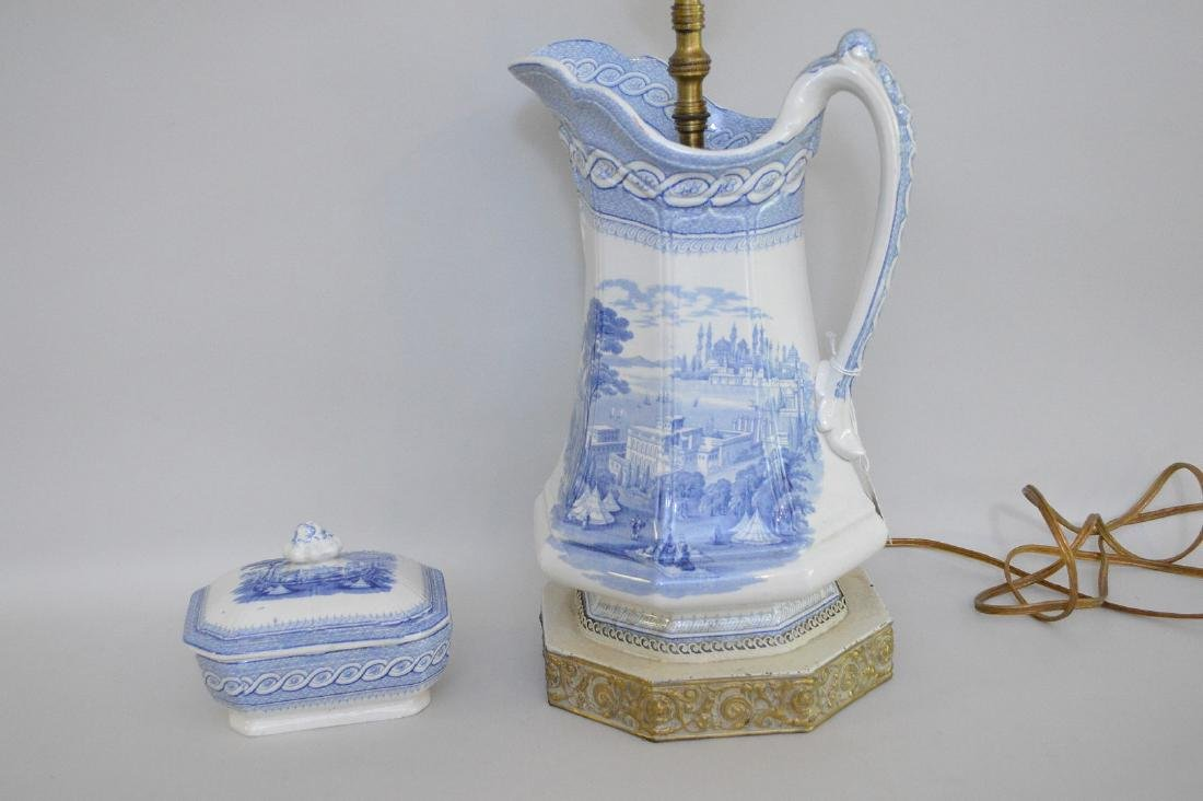 """19th c. Blue white transfer pitcher/lamp(12""""h and 28""""h - 3"""