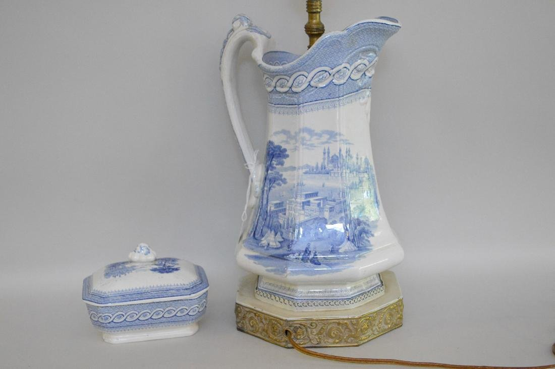 """19th c. Blue white transfer pitcher/lamp(12""""h and 28""""h - 4"""