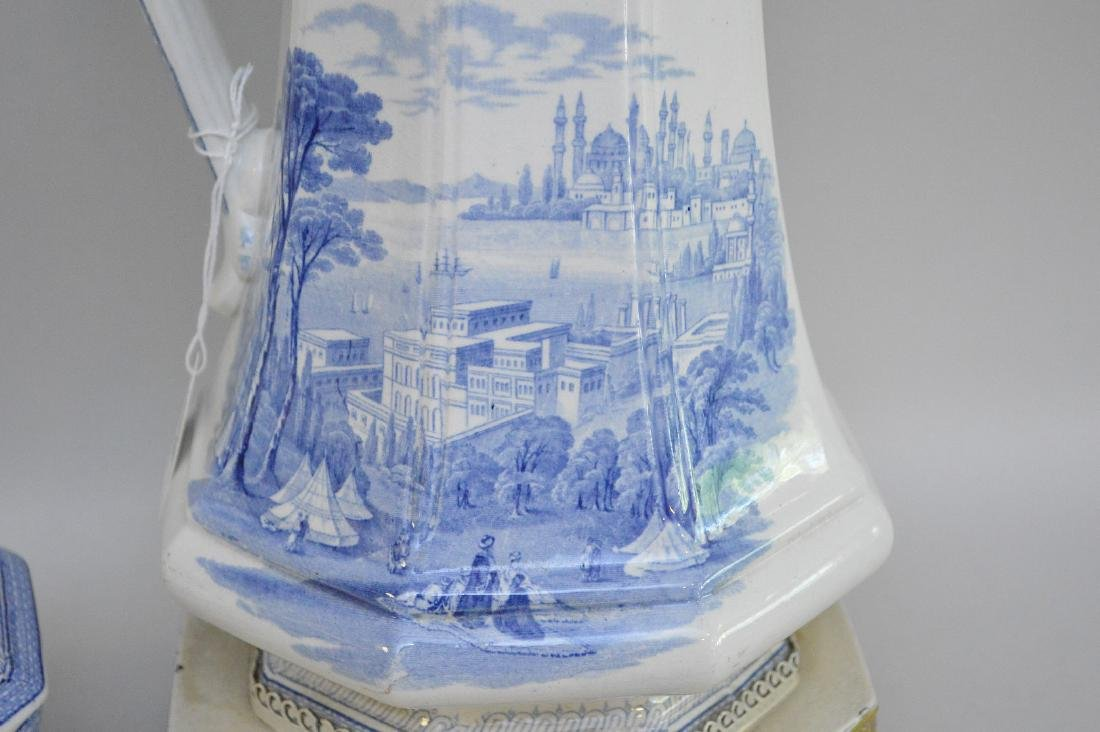 """19th c. Blue white transfer pitcher/lamp(12""""h and 28""""h - 5"""