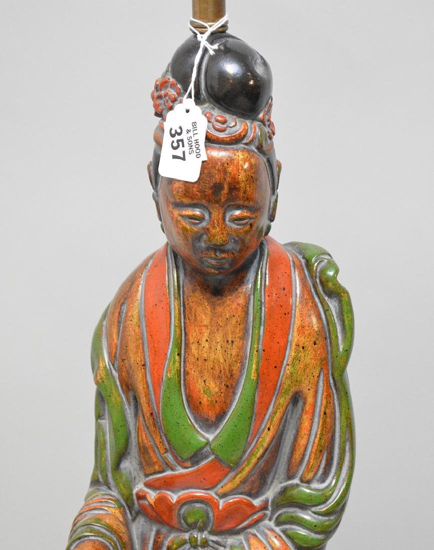 "Carved painted wood Quan Yin sculpture lamp, 28"" to top - 2"
