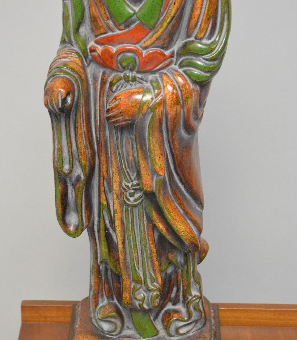 "Carved painted wood Quan Yin sculpture lamp, 28"" to top - 3"