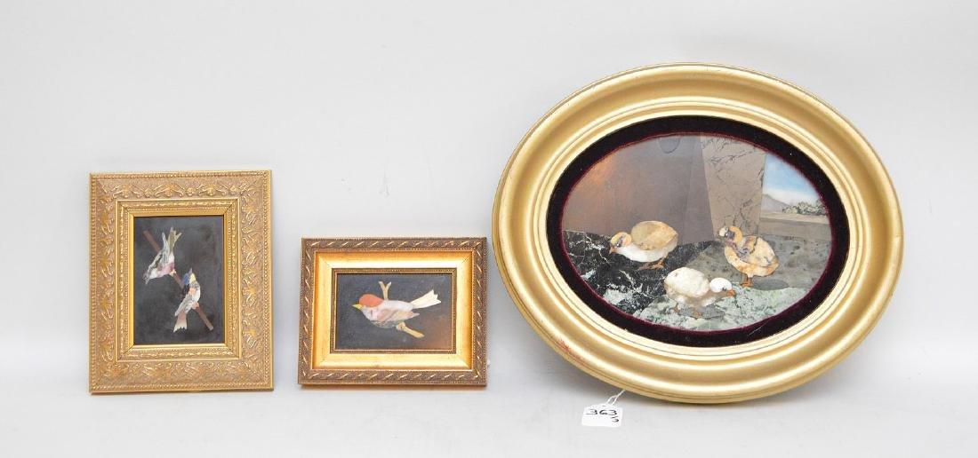 3 PIETRA DURA PLAQUES.  1 Oval plaque depicting three