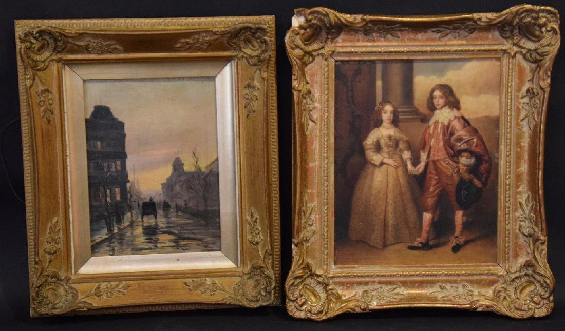 2 Antique European Paintings sold together , street