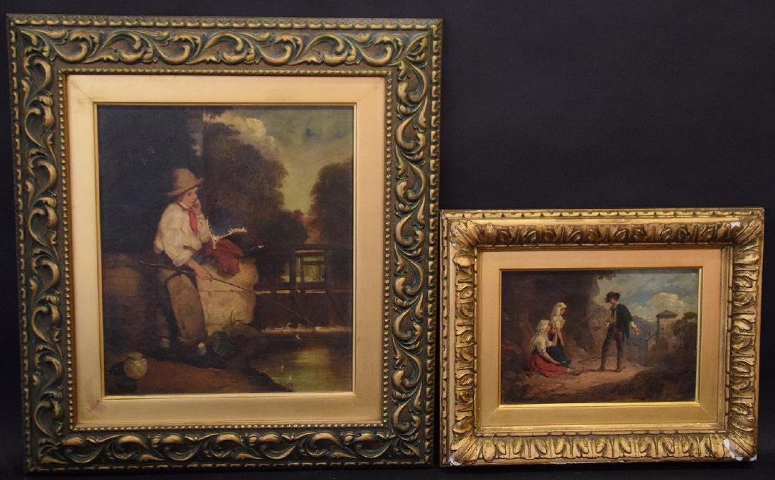2 Antique European Paintings sold together, Italian