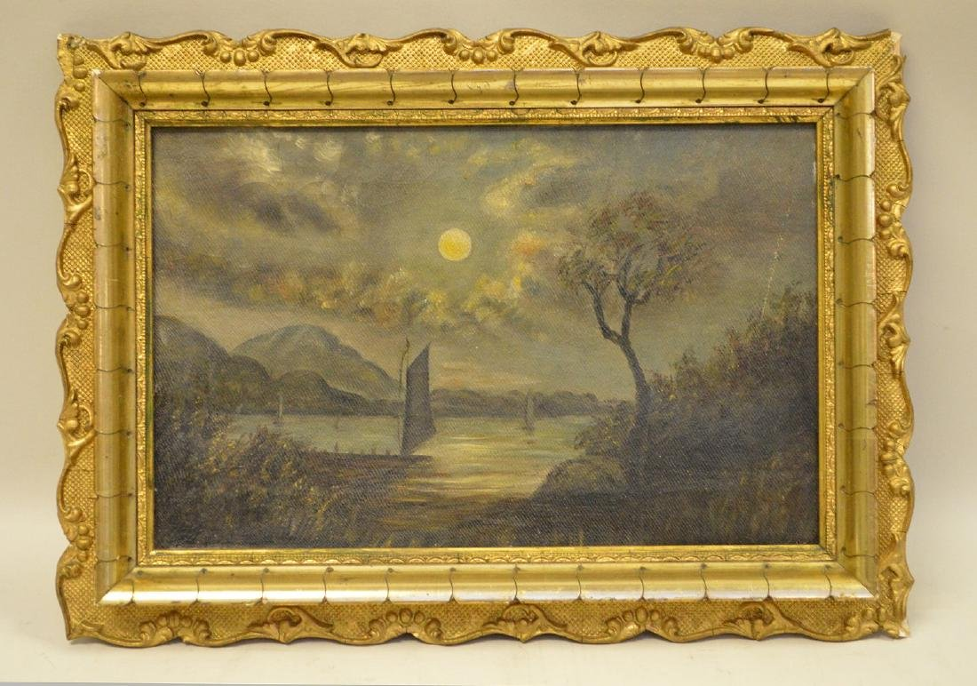 19th Century Continental School Mountain Lake sailing