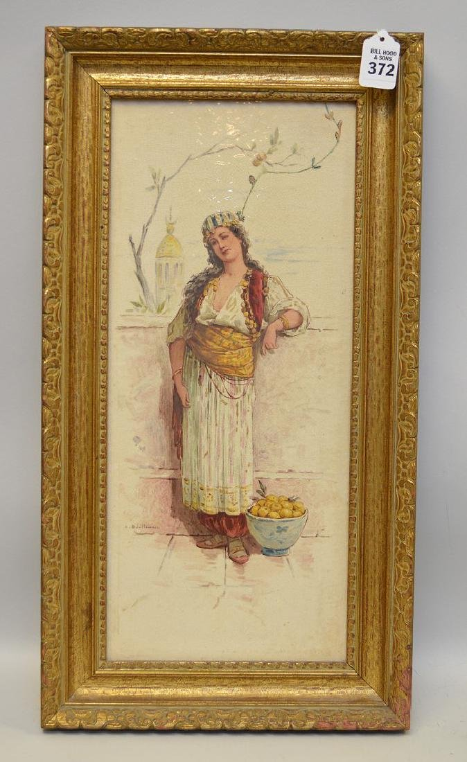 Antique tile young Turkish girl, signed illegibly lower
