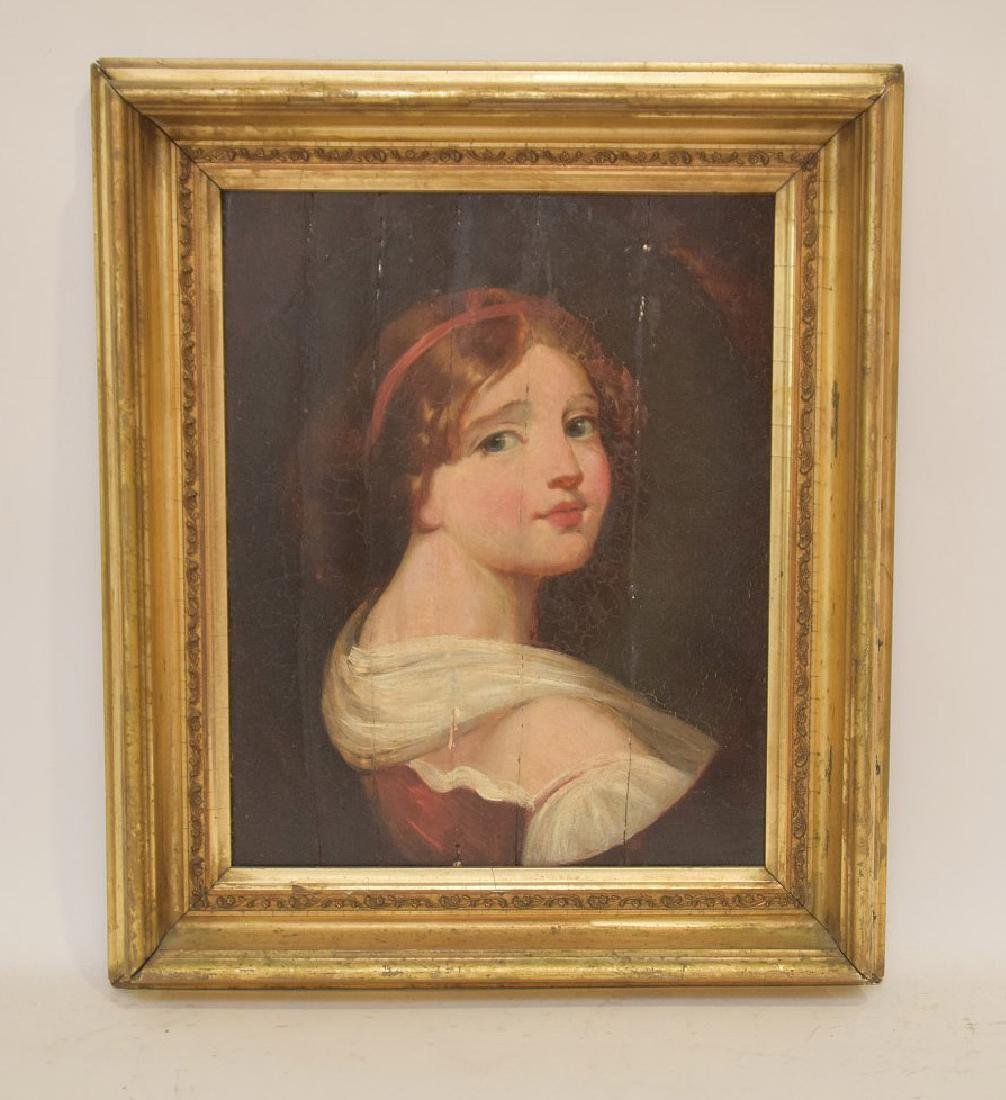 Antique Portrait 17th/18th Century young girl in red &