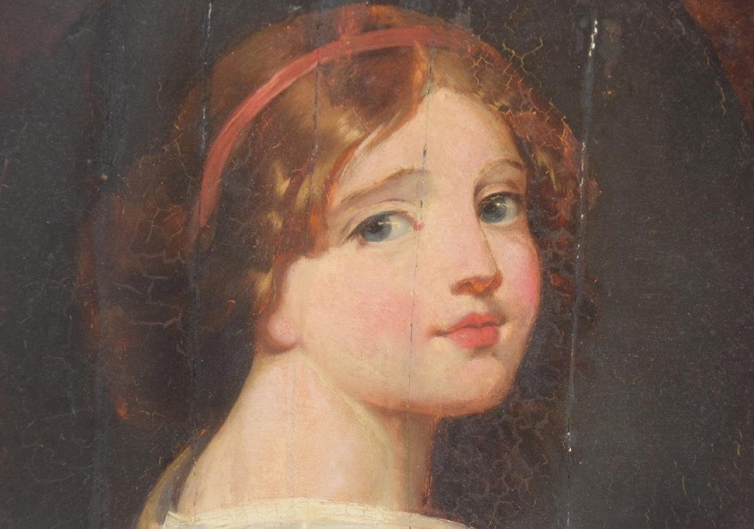 Antique Portrait 17th/18th Century young girl in red & - 2