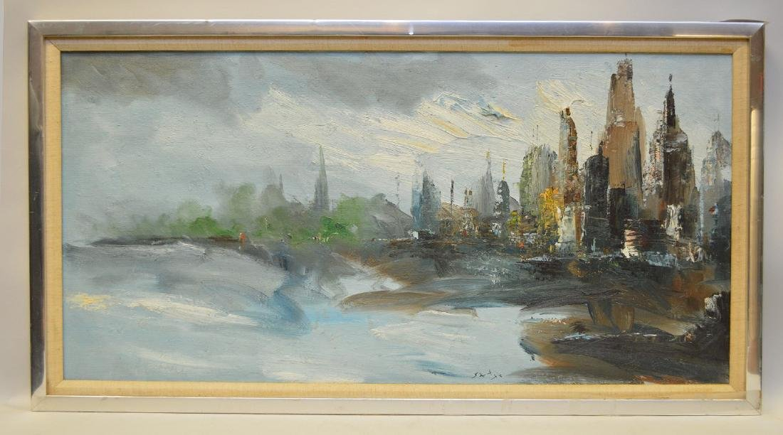 NYC city scene, oil on heavy canvas, signed illegibly,