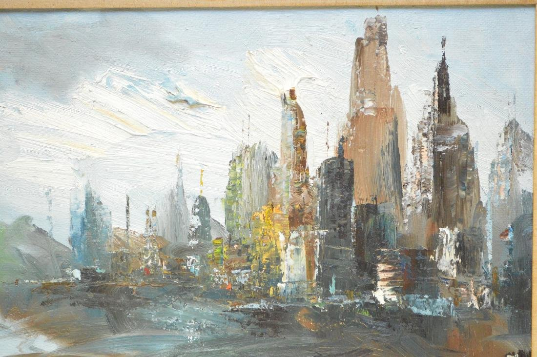 NYC city scene, oil on heavy canvas, signed illegibly, - 2