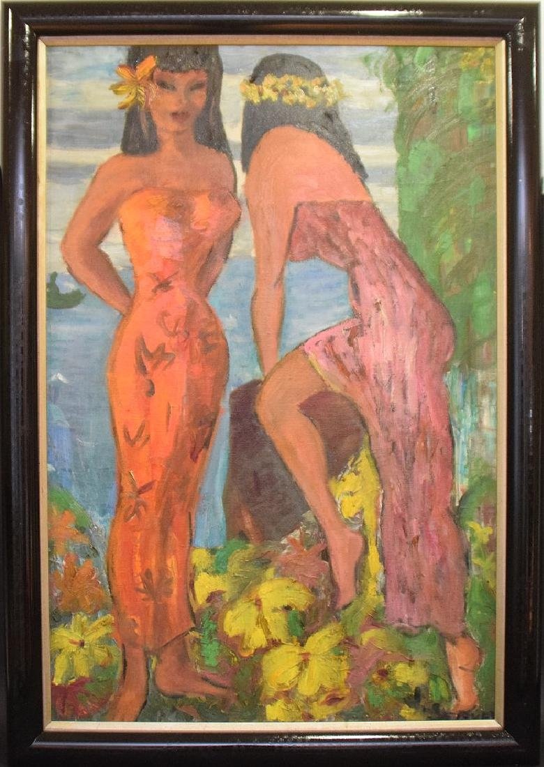 Serven, Tahitian girls, oil on canvas, 36 x 24 inches