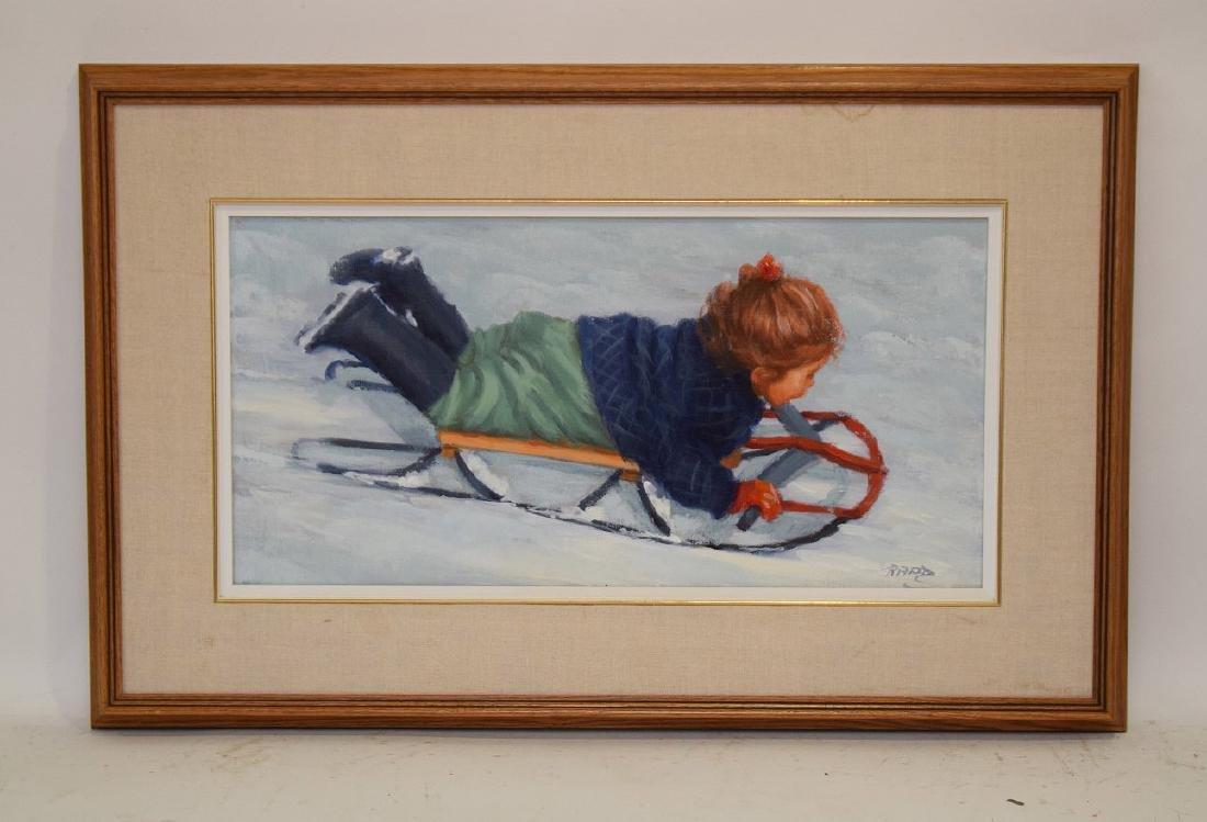 Lucelle Raad (Am. born 1942) oil on canvas, Girl on