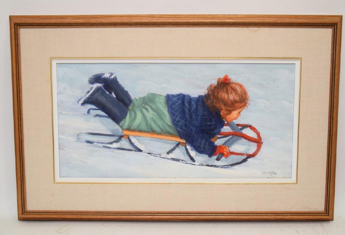 Lucelle Raad (Am. born 1942) oil on canvas, Girl on - 2