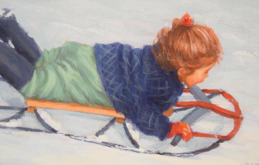 Lucelle Raad (Am. born 1942) oil on canvas, Girl on - 3