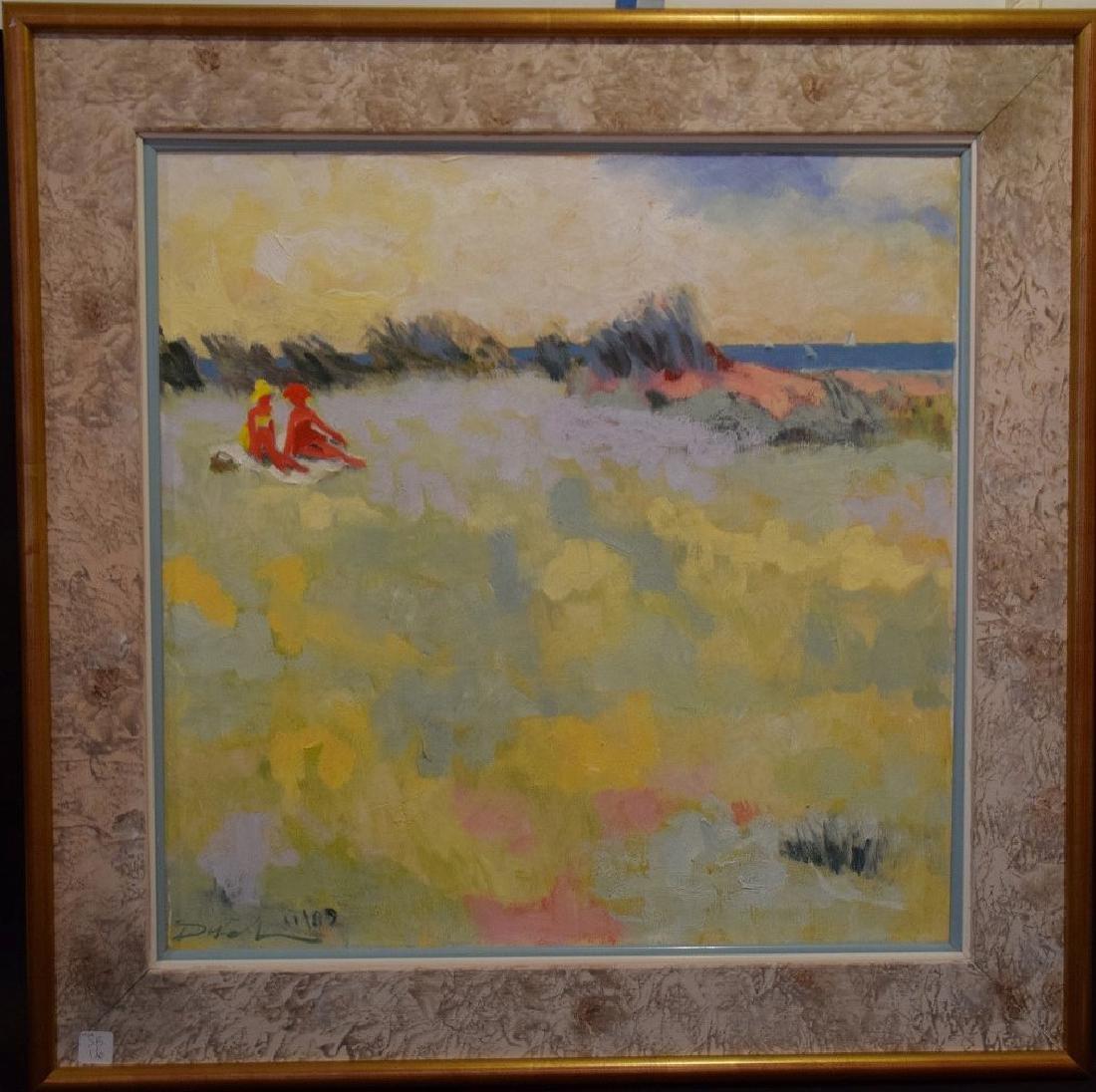 Am School oil on canvas, girls at the beach, 24 x 24
