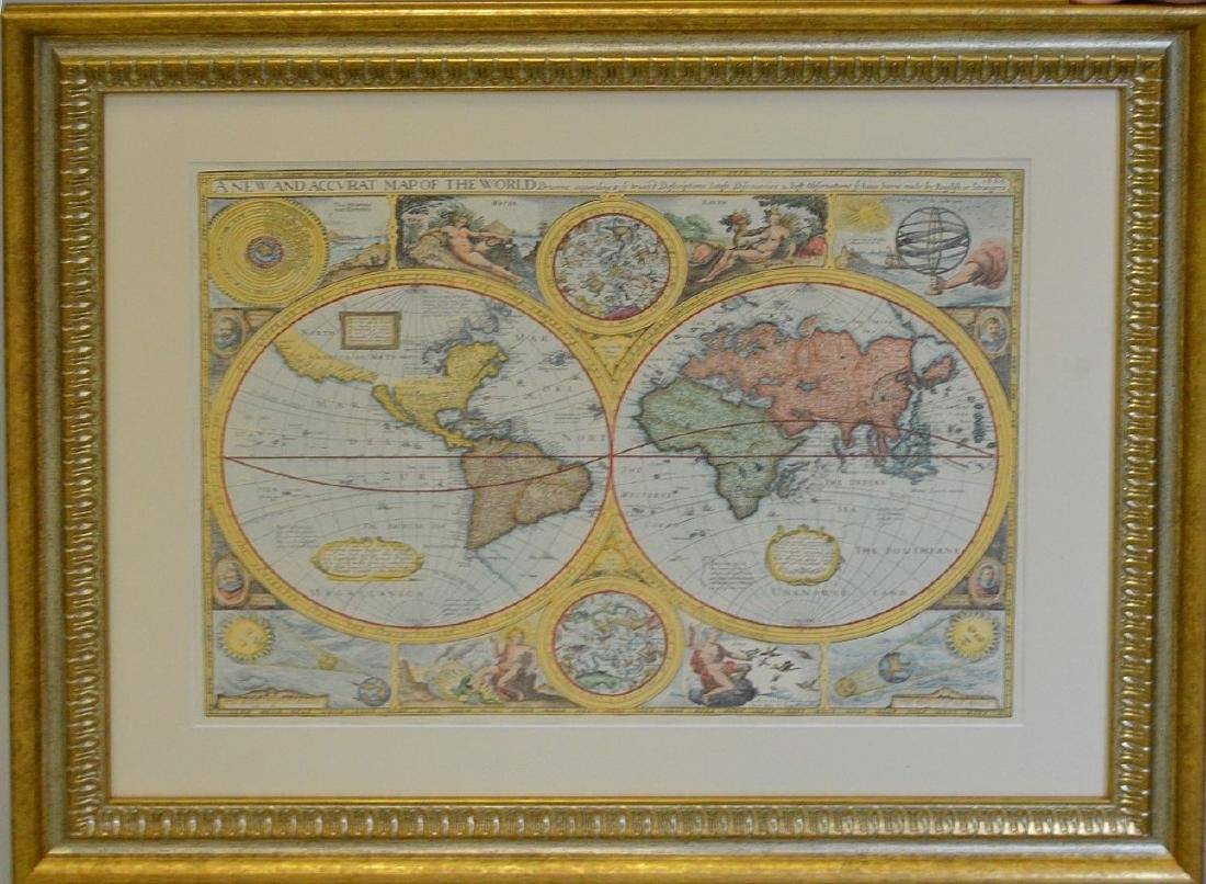 """Hand colored etching, """"A New and Accurate Map of the"""