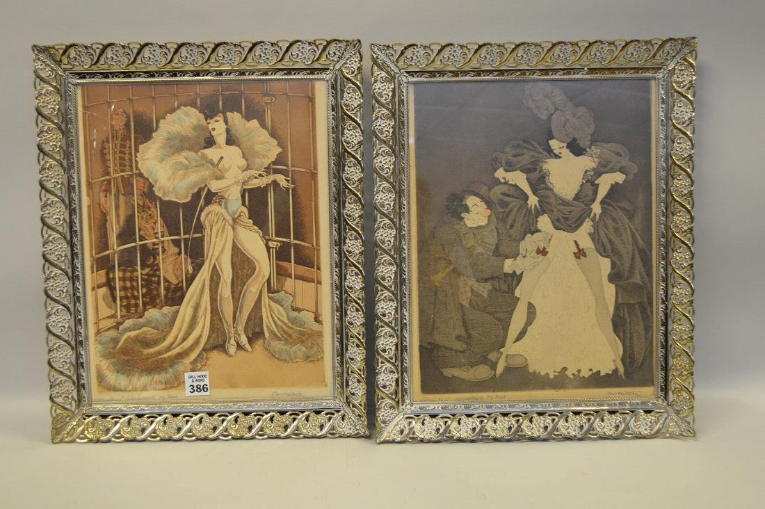 Pr. of old French framed etchings, approx. 13 x 10