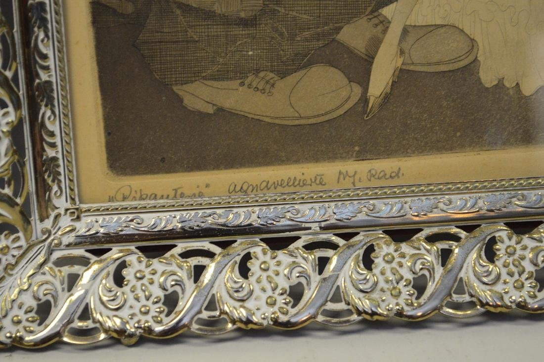 Pr. of old French framed etchings, approx. 13 x 10 - 2