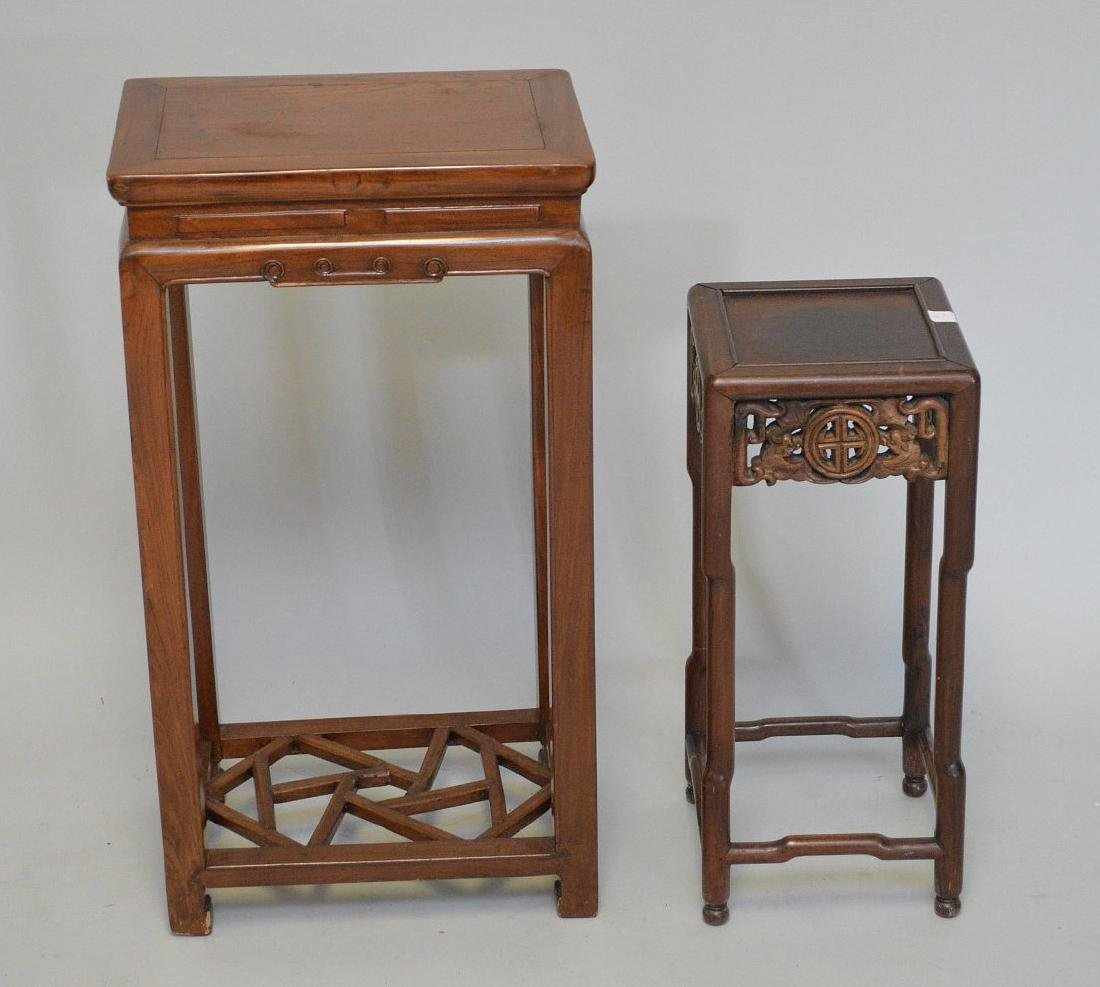 "2 Chinese fern stands; 1 with carved apron (22""h x 9"