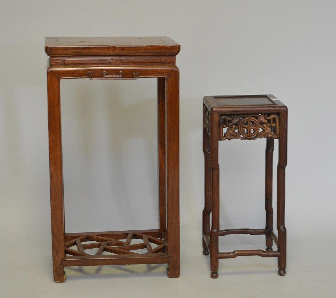 """2 Chinese fern stands; 1 with carved apron (22""""h x 9 - 2"""