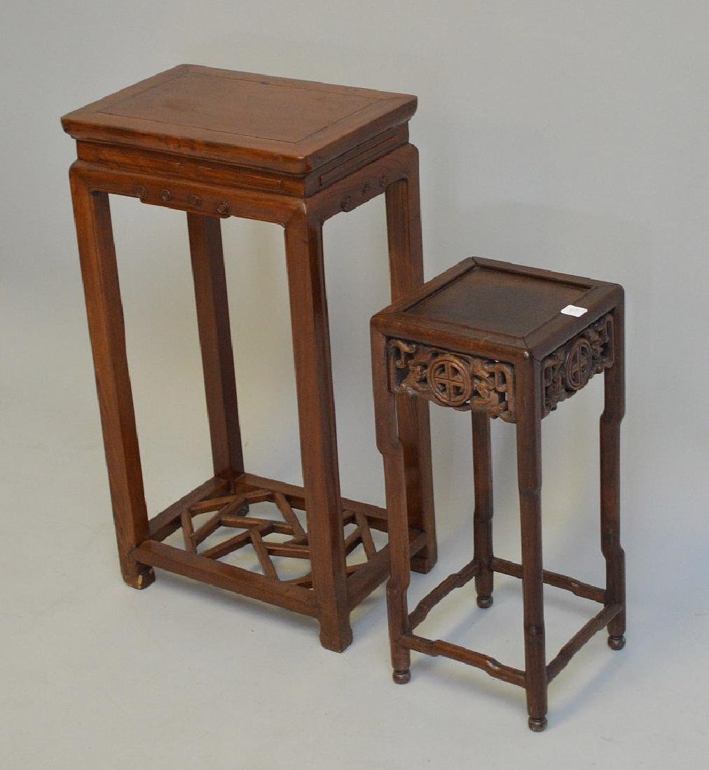 """2 Chinese fern stands; 1 with carved apron (22""""h x 9 - 3"""