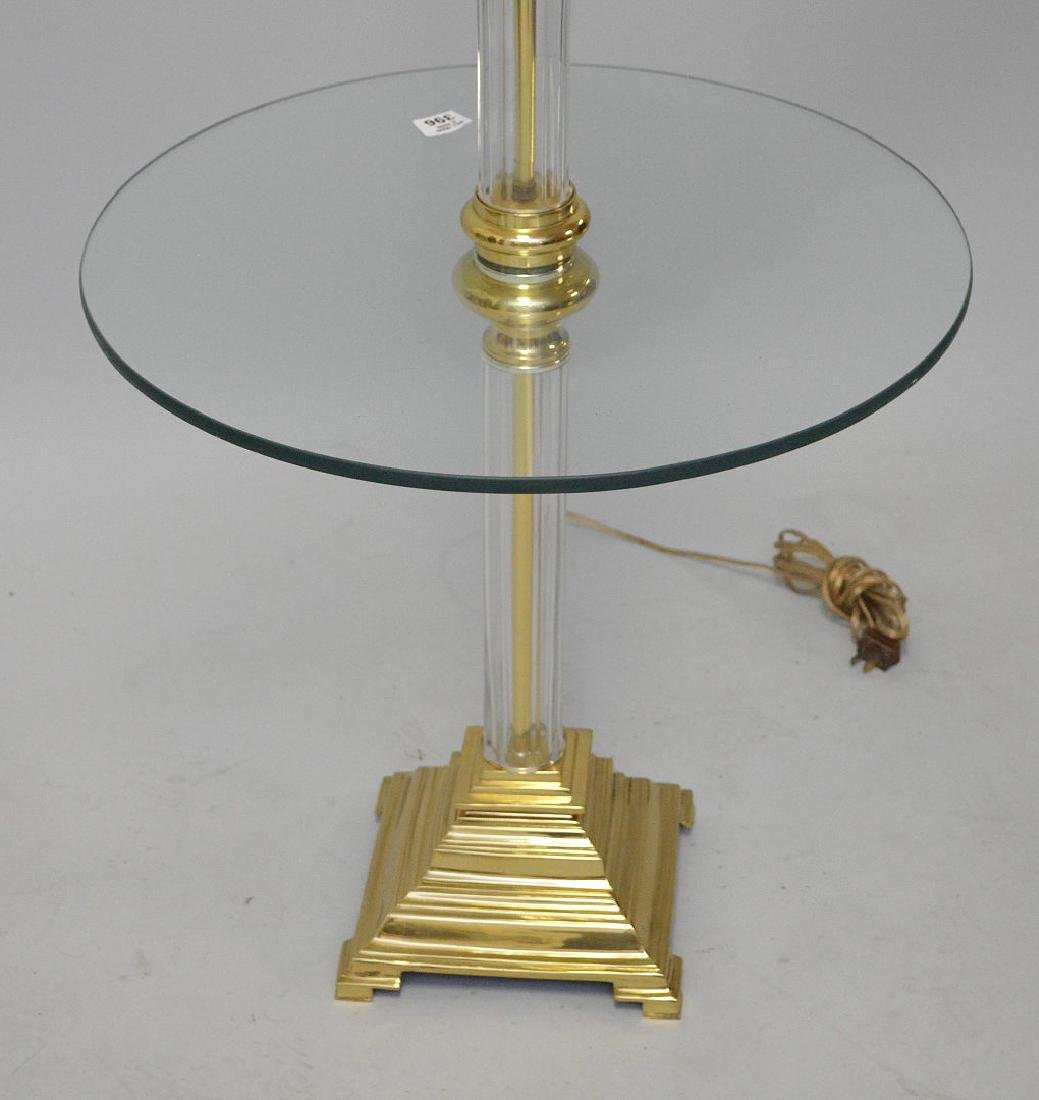 "Glass & brass floor lamp, 55""h - 2"