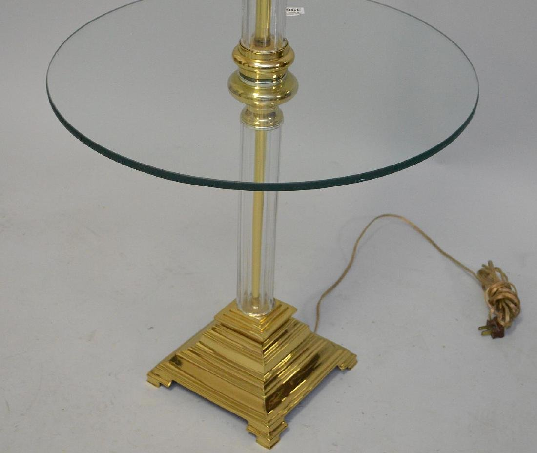 "Glass & brass floor lamp, 55""h - 5"