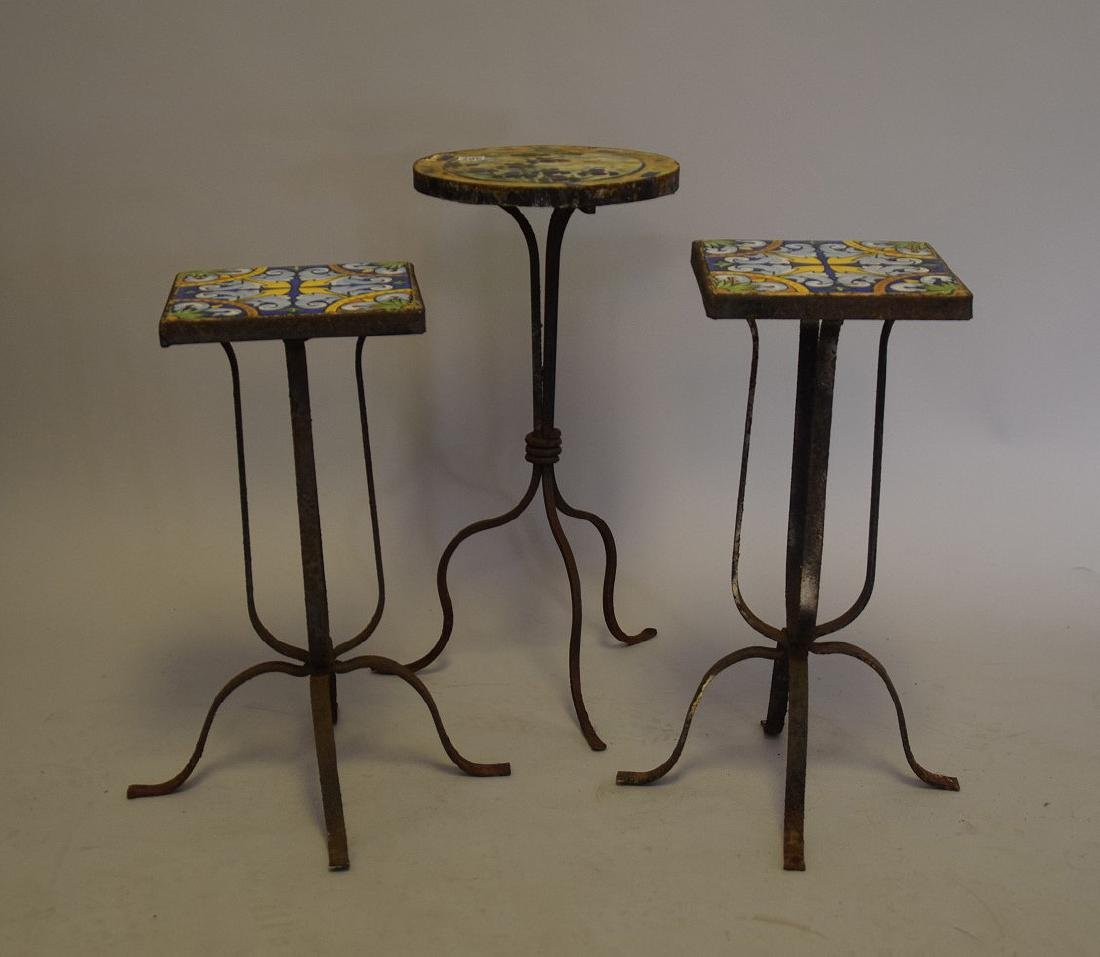 3 vintage small patio side tables with tile top and