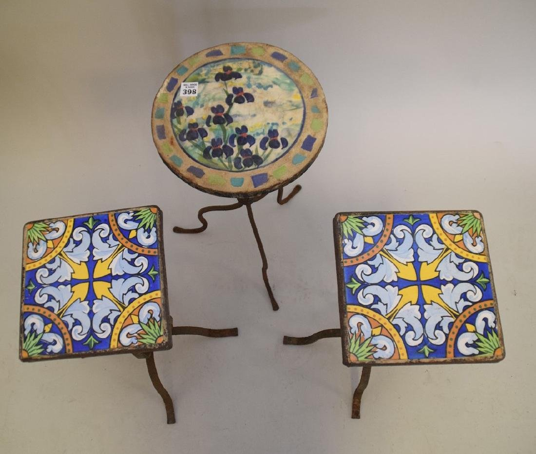 3 vintage small patio side tables with tile top and - 3