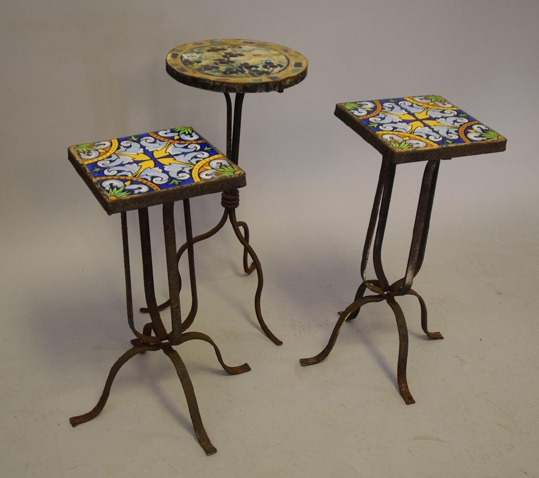 3 vintage small patio side tables with tile top and - 4