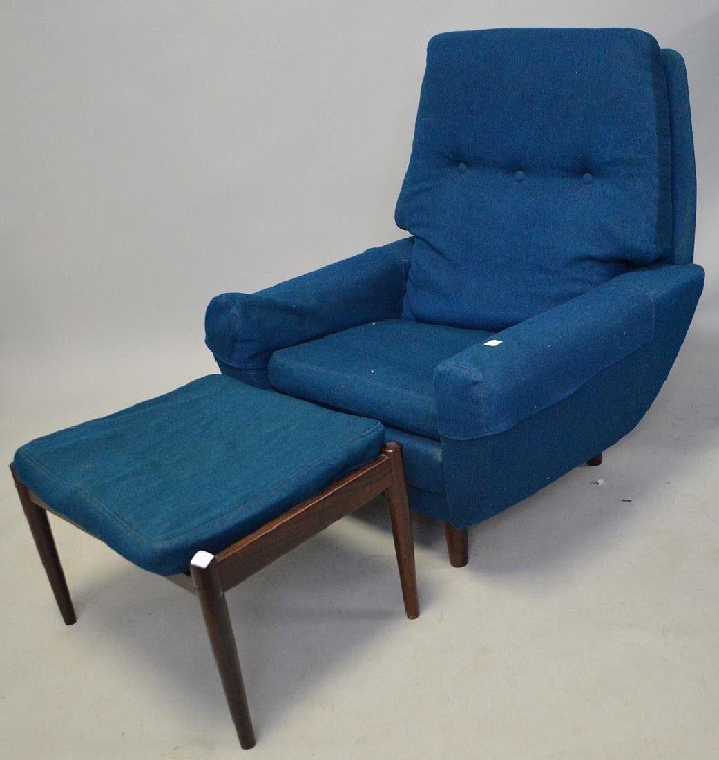 Mid century chair and ottoman, Made in Denmark, royal - 2