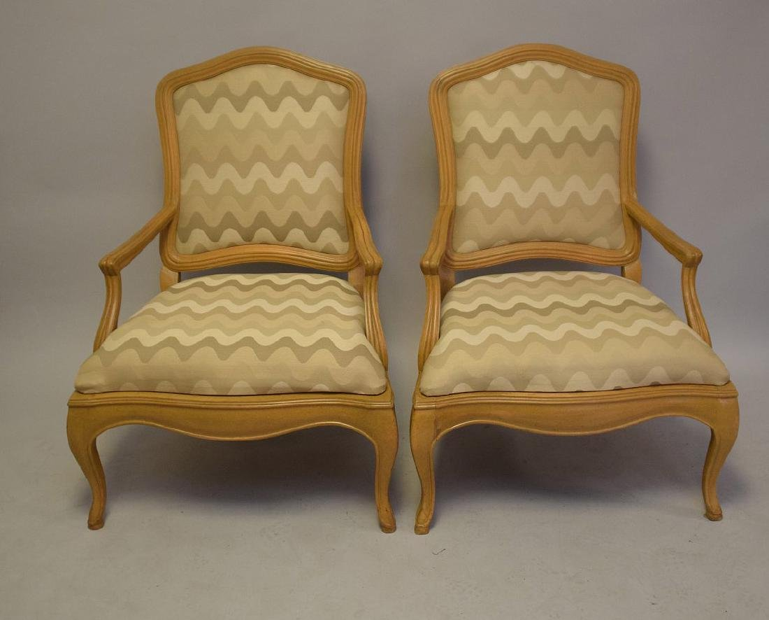Pair of lightwood Country French upholstered arm