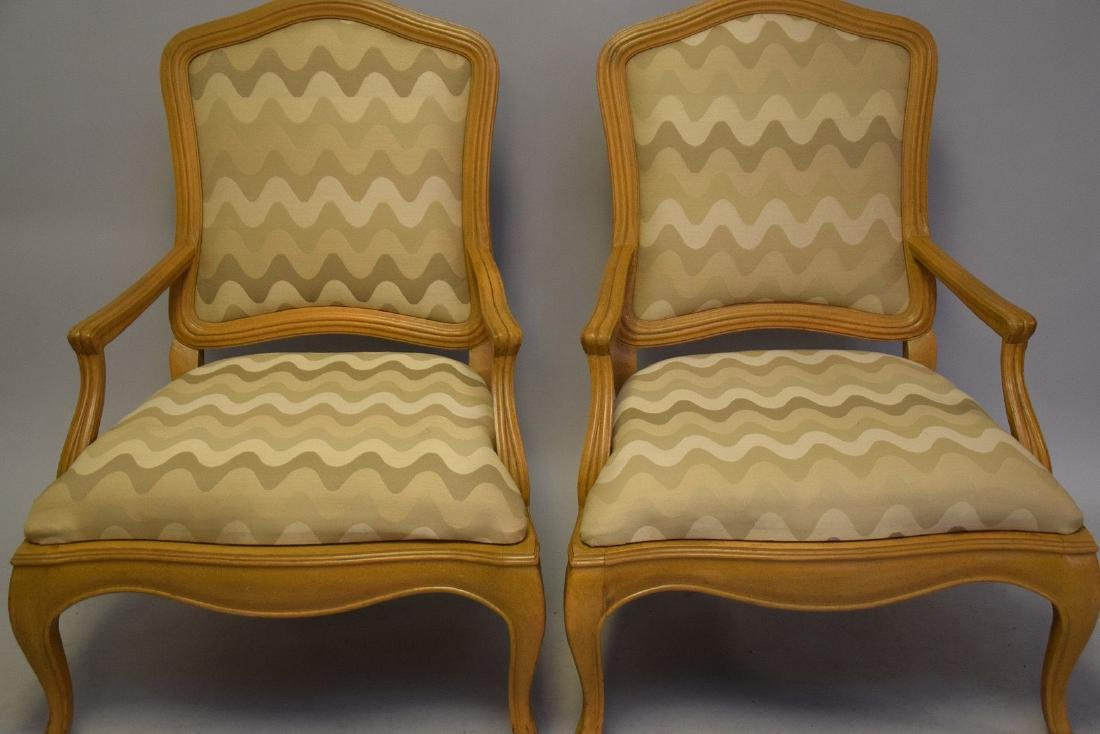 Pair of lightwood Country French upholstered arm - 2