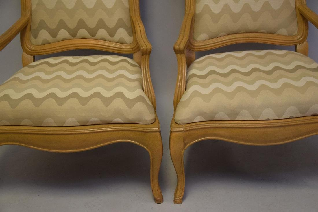 Pair of lightwood Country French upholstered arm - 3