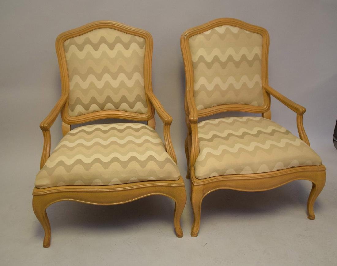 Pair of lightwood Country French upholstered arm - 4