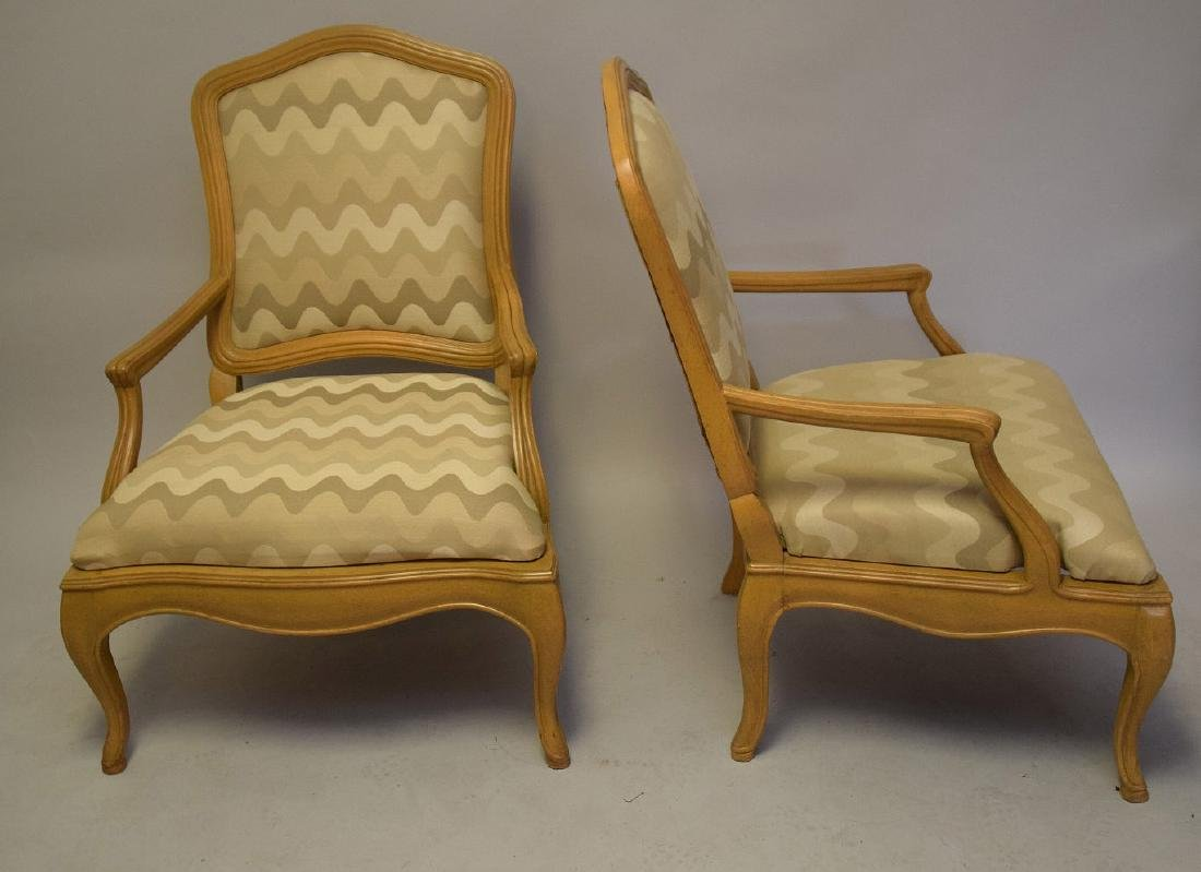 Pair of lightwood Country French upholstered arm - 6