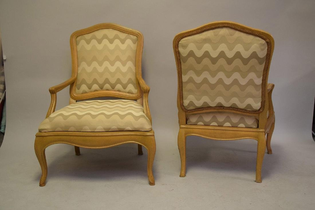 Pair of lightwood Country French upholstered arm - 7