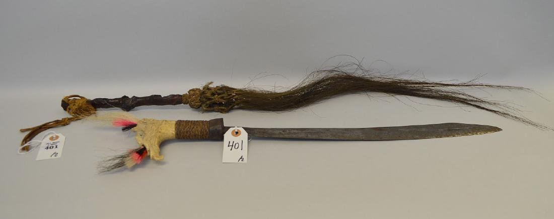 ANTIQUE MANDAU TRIBAL SWORD & GNARLED WOOD FLY SWATTER