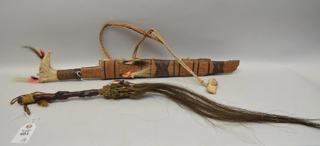 ANTIQUE MANDAU TRIBAL SWORD & GNARLED WOOD FLY SWATTER - 5