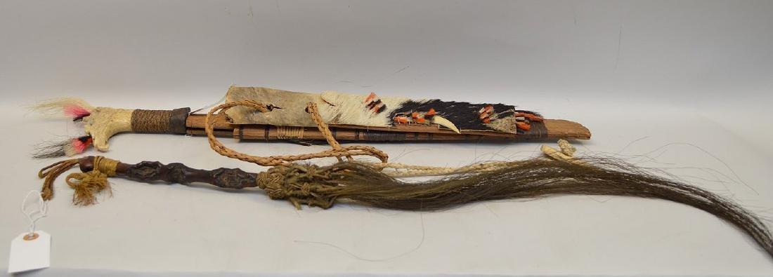 ANTIQUE MANDAU TRIBAL SWORD & GNARLED WOOD FLY SWATTER - 6