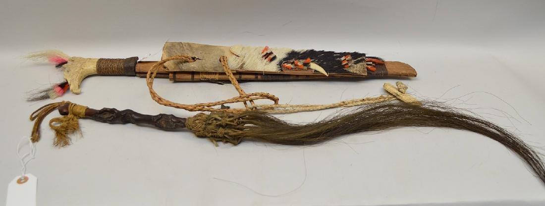 ANTIQUE MANDAU TRIBAL SWORD & GNARLED WOOD FLY SWATTER - 7