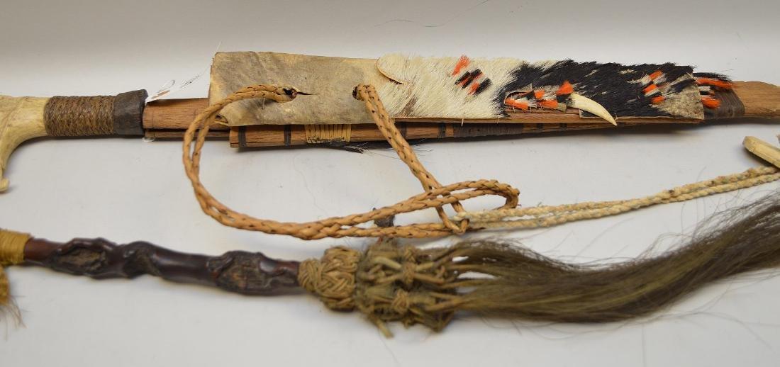 ANTIQUE MANDAU TRIBAL SWORD & GNARLED WOOD FLY SWATTER - 8