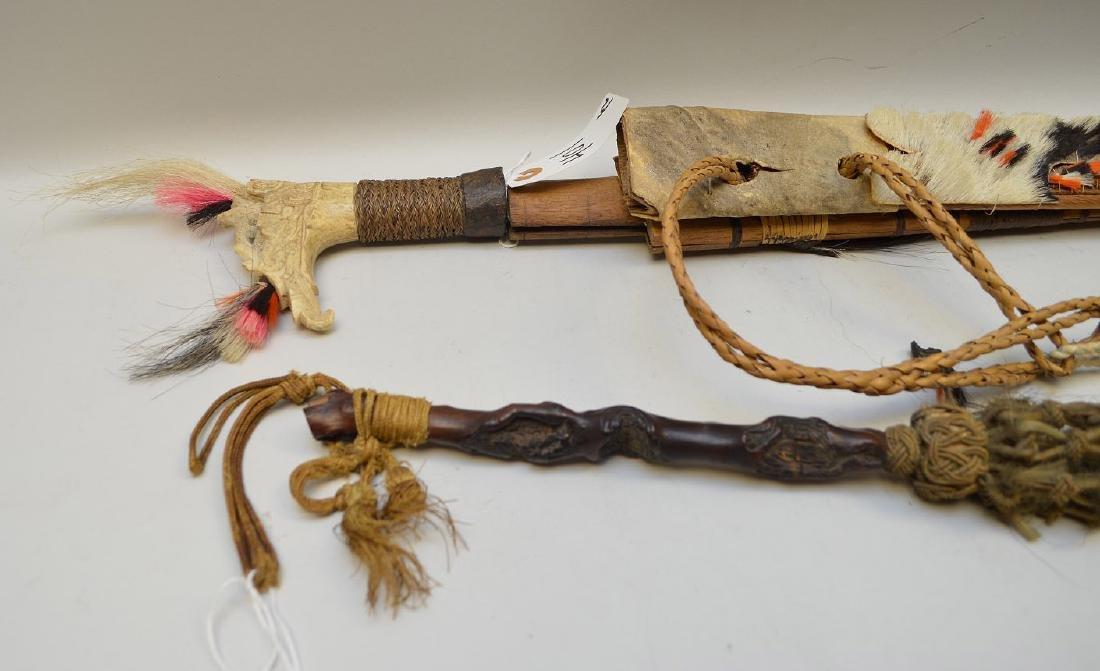 ANTIQUE MANDAU TRIBAL SWORD & GNARLED WOOD FLY SWATTER - 9