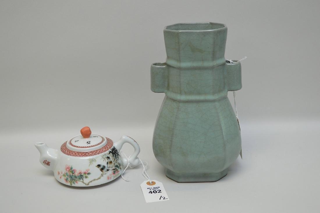 CHINESE CELADON HANDLED VASE & FAMILLE ROSE TEA POT -