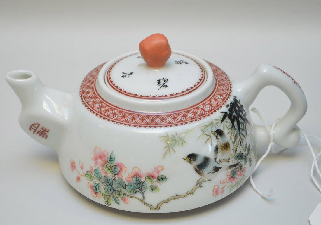 CHINESE CELADON HANDLED VASE & FAMILLE ROSE TEA POT - - 2