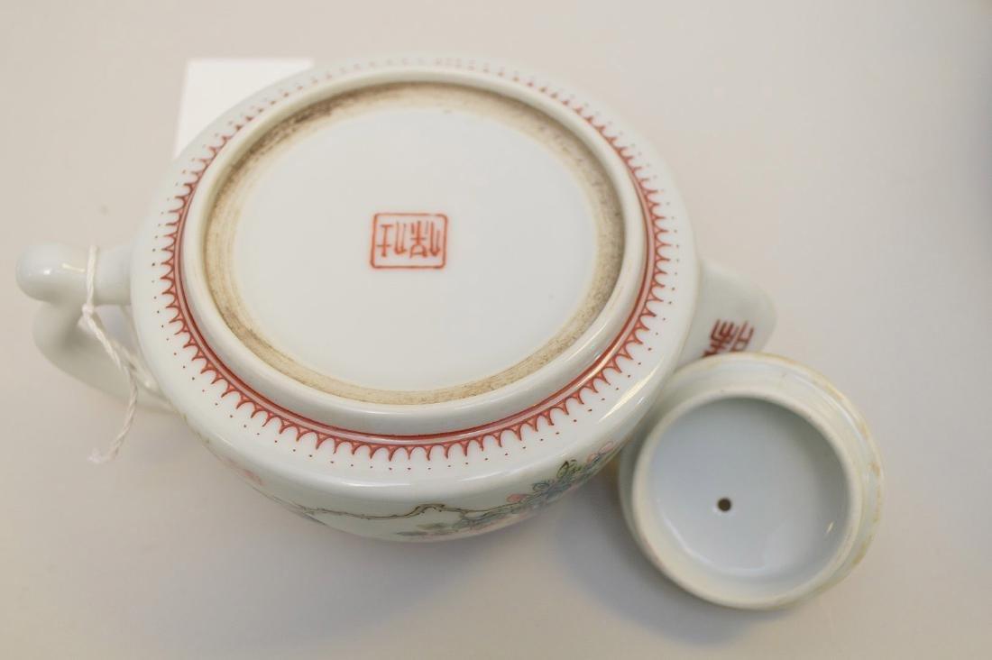 CHINESE CELADON HANDLED VASE & FAMILLE ROSE TEA POT - - 6